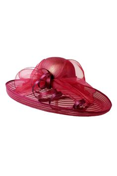 """Stunning wide brimmed derby or special occasion hat featuring a folded up sheer brim with organza and sinamay bow detail. Approx. Measures: 20"""" x 8"""" Nyquist Cherry Hat by Something Special. Accessories - Hats Vancouver, Canada"""