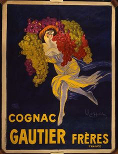 advertising, classic posters, food, free download, french poster, graphic design, movies, retro prints, theater, vintage, vintage posters, Gautier Freres, Congnac, France - Vintage French Alcohol Advertising Poster