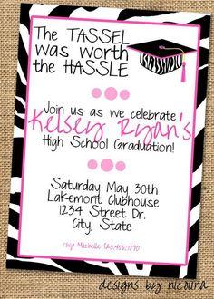 Graduation Invitation for Girl, http://hative.com/creative-graduation-invitation-ideas/