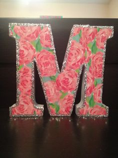 Just grab a large letter from hobby lobby, print out your favorite print, and modge podge on the print and the glitter! Delta Zeta Crafts, Dorm Room Crafts, Diy And Crafts, Arts And Crafts, Welcome To My House, Wooden Letters, Baby Decor, Little Gifts, Diy Art