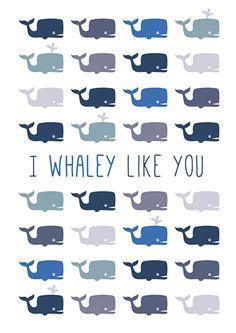 Poster I whaley like you A4. Poster met walvissen in blauw en grijs en quote I whaley like you. Leuk om de babykamer en kinderkamer mee te decoren. Mooi om te combineren met de bijpassen hanglamp en wandlamp.