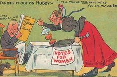 Cattive madri e mogli, zitelle brutte e violente... Le donne che più di un secolo fa lottavano per il diritto di voto erano descritte così: questa raccolta di cartoline postali è uno dei segni di quei tempi.