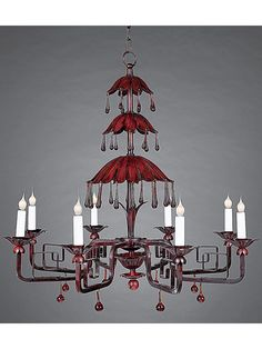 """Hand crafted metal with rose crystal droplets.  32""""Dia. X 29"""" ht  #9979A.              Interiors By Diane"""