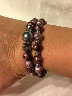 Mauve and Brown Beaded Braclet set of 2 by Krazy4Kamo on Etsy
