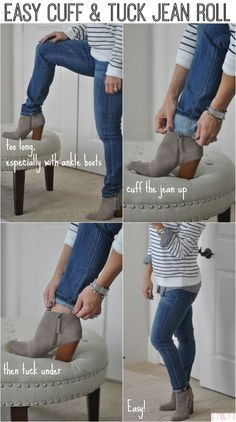Easy way to roll your jeans - cuff and tuck. #fallfashion #jeans Honey We're Home blog