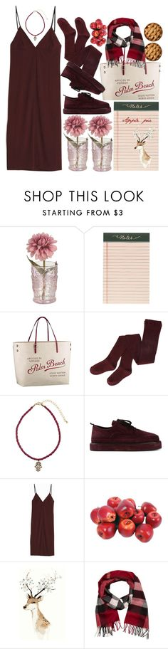 """Apple Pie"" by jasminekt ❤ liked on Polyvore featuring Rifle Paper Co, Louis Vuitton, H&M, Ann Demeulemeester, T By Alexander Wang, Kiera Grace, Burberry, red, dress and scarf"