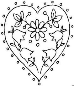 patterns for various felt objects including an embroidered heart Embroidery Hearts, Embroidery Monogram, Cross Stitch Embroidery, Embroidery Patterns, Hand Embroidery, Flower Coloring Pages, Coloring Book Pages, Sun Doodles, Happy Birthday Flower