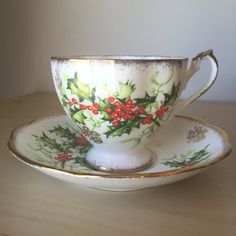 """Queen Anne """"Yuletide"""" Vintage Teacup and Saucer, Green Holly Red Berry Tea Cup and Saucer"""