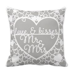 #Love and Kisses Mr and Mrs Papercut Style Cushion - #GroomGifts #Groom #Gifts Groom Gifts #Wedding #Groomideas