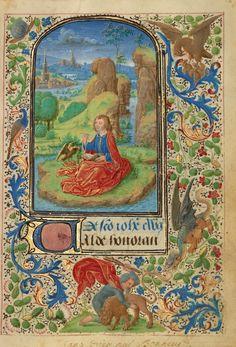 Saint John on Patmos; Lieven van Lathem (Flemish, about 1430 - 1493); Ghent (written), Belgium; 1469; Tempera colors, gold leaf, gold paint, silver paint, and ink on parchment; Leaf: 12.4 x 9.2 cm (4 7/8 x 3 5/8 in.); Ms. 37, fol. 18; J. Paul Getty Museum, Los Angeles, California