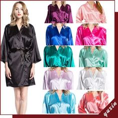 e78c26d9f73d Women solid robe Silk Satin Robes Wedding Bridesmaid Bride Gown kimono robe  002 in Clothing