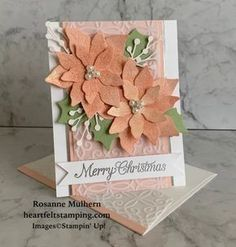 Poinsettia Cards, Christmas Poinsettia, Stampin Up Christmas, My First Christmas, Christmas Makes, Noel Christmas, Xmas Cards, Holiday Cards, Winter Cards