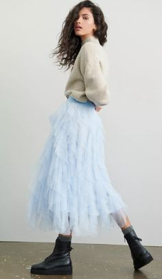 Adorned with tiers of decadently ruffled tulle, this sweeping skirt is sure to make heads turn. At Anthropologie Colourful Wallpaper Iphone, Casual Outfits, Fashion Outfits, Queen, Winter Day, Better Life, Midi Skirt, Anthropologie, Sunshine