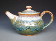 Personal Teapot Tri Layer Blue Drip H by darshanpottery on Etsy, $95.00