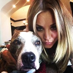Pin for Later: Lots of Licks Between April Celebrities and Pets Down Time Kaley Cuoco bonded with her dog on Easter.  Source: Instagram user normancook