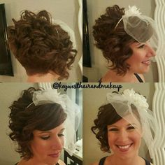 Short Curly Bridal Hairstyle With Veil