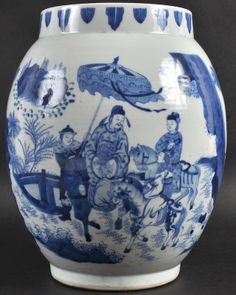 A Chinese Blue And White Transitional Style Vase On