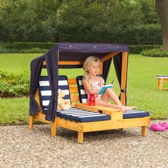 Amazon.com: KidKraft Outdoor Double Chaise Lounge, Honey/Navy/White, One Size: Toys & Games