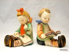 Children Reading Figurines Large Sized Charming by Nachokitty, $48.00