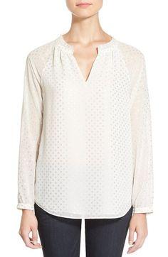 nydj foil dot print split neck blouse