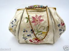 Vintage French Embroidered Beige Silk Evening Bag with Beaded Accents Closure | eBay