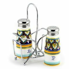 DERUTA VARIO: Salt and Pepper Shakers set w/Stailess Steel Top [#9500-VR1] by DERUTA VARIO Collection. $98.00. Authentic Artistica's product fully handcrafted in Italy.. 100% Food Safe - Dishwasher Safe. Artistica's Exclusive Product. Masterfully Hand-Painted in Deruta Italy!. Item Size: 2D.X4.5H. Inches.. Metal parts made in the USA - Ceramic parts hand painted and imported from Deruta-Italy. An Artistica's exclusive!Combining the practicability with the renown D...