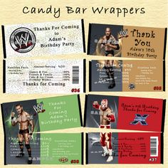 WWE Wrestling Birthday Candy Wrappers 10 ea Personalized