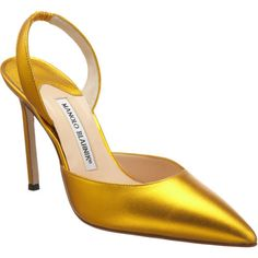 Manolo Blahnik in Yellow Gold Metallic leather