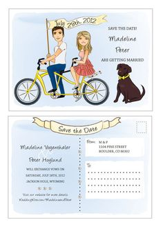 Customizable Save the Date Portrait 5x7 Tandem Bicycle Postcard Wedding Illustration