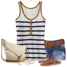 """""""Striped Henley Tank Top"""" by immacherry on Polyvore"""