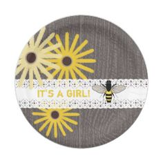 Wood + Lace Inspired Floral Bee Baby Shower 7 Inch Paper Plate
