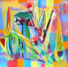 """Spikes"" Acrylic on canvas 18x18""  by Abol Bahadori  Contact abol@abolart.com for price"