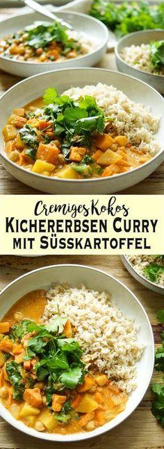 """Ein einfaches Rezept für ein cremiges Kokos Kichererbsen Curry mit Süßkartoffel und Spinat. Dieses gesunde und herzhafte Gericht kann auch gut am nächsten Tag aufgewärmt werden. Ich empfehle dazu braunen Reis, Quinoa oder für Low-Carb-Anhänger Blumenkohl """"Reis"""". Das Rezept ist vegetarisch und vegan. Einfache gesunde Rezepte - Elle Republic #Curry #CleanEating #vegan #vegetarisch #rezept #essen #kokos #kichererbsen #sweetpotato #herbst #kochen #einfach #gesund #gesunderezepte"""