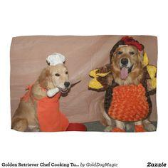 Golden Retriever Chef Cooking Turkey Hand Towel