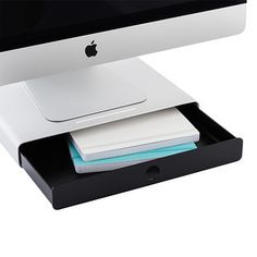 This amazing little shelf attaches to the top of your computer or TV screen to create a space for supplies, framed photos, remotes or a favorite action figure. Surprisingly strong and stable, it's easy to install. Simply adjust the legs for the correct height and angle. The shelf surface is finished with rubber, so items won't slide.