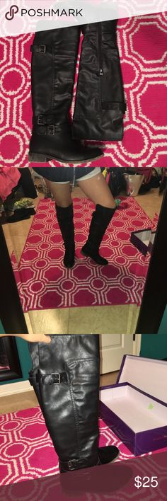"""🖤MADDEN GIRL BOOTS🖤 These boots are super comfy and lightweight! They're faux leather and go mid way on my knees (I'm 5'4"""") Rarely worn, super good condition! 😄 Madden Girl Shoes Winter & Rain Boots"""