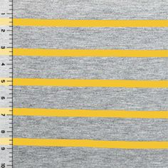 Mustard Yellow Heather Gray Small Stripe Cotton Jersey Blend Knit Fabric