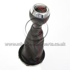 JCW Gearknob & Black Leather Gaitor with Red Stitching - Chromeline - R55/R56/R57