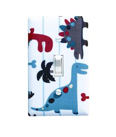 Dinosaur Light Switch Plate Cover / Baby Boy Nursery / Kids Room / Dino World Blue Red Gray