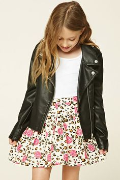 Forever 21 Girls - A woven skirt featuring an allover floral and leopard print and a hidden side zipper.