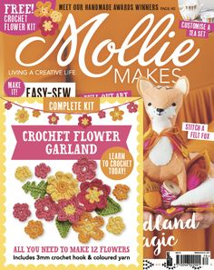 Mollie Makes 70 with free crochet flowers kit gift.