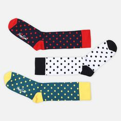Socks Multi Dots 3 Pack II, by Happy Socks. Made of high-quality combed cotton, these socks feature a reinforced toe and heel for continual comfort. (Set of 3 pair)