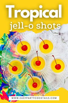 Funny and fruity, these Tropical Jello Shots are what summer is all about. Made with an addictive pineapple and coconut flavor, be prepared to reach for a second! Coconut Rum, Jello Shots, Cocktails, Tropical, Party, Pineapple, Funny, Summer, Craft Cocktails