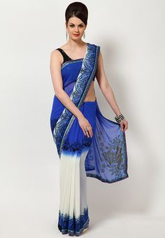 Printed saree for women from Aalya and made from georgette. Elegant and refreshing, this blue coloured saree from Aalya is a great pick. This saree has shades of white and blue colours and an attractive print to leave you mesmerised. This georgette saree is an ideal regular wear and you can drape it in different style to look sensuous and appealing.