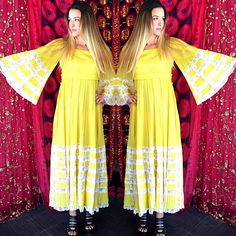 Vintage 70S Mexican Wedding Fred Leighton Boho Ethnic Hippie Dress Caftan #FredLEIGHTON