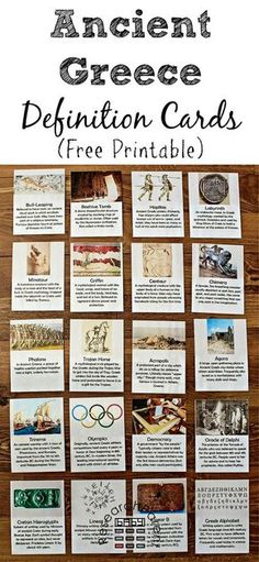 Ancient Greece Definition Cards - Free, Printable, Montessori-Inspired cards for learning vocabulary relevant to Ancient Greece including bull-leaping, beehive tomb, hoplites, labyrinth, minotaur, griffin, centaur, chimera, phalanx, Trojan horse, acropolis, agora, trireme, Olympics, democracy, Oracle of Delphi, Cretan Hieroglyphics, Linear A, Linear B, and Greek alphabet
