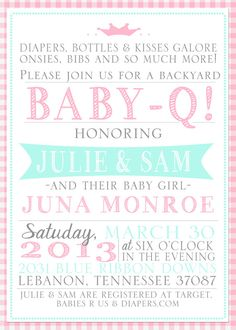 Baby Girl Shower Invitation, Baby-Q