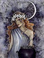 Cerridwen-Deusa da Lua do panteão galês,sendo chamada de Grande Mãe e A Senhora.Deusa da natureza,Cerridwen era esposa do gigante Tegid e mãe de uma linda donzela,Creirwy,e de um feio rapaz, Avagdu.Os bardos galeses chamavam a si mesmos de Cerddorion, filhos de Cerridwen.Há uma lenda que diz que o grande bardo Taliesin,druida da corte do rei Arthur,nascera de Cerridwen e se tornara grande mago,é ainda a deusa da Morte, da fertilidade,da regeneração,da inspiração,magia,astrologia...