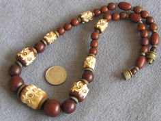 Vintage Art Deco Carved Galalith Bead Necklace Brown $59