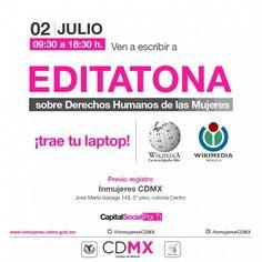 """Invitan INMUJERES CDMX y Wikimedia México a participar en quinto encuentro de """"Editatona"""""""
